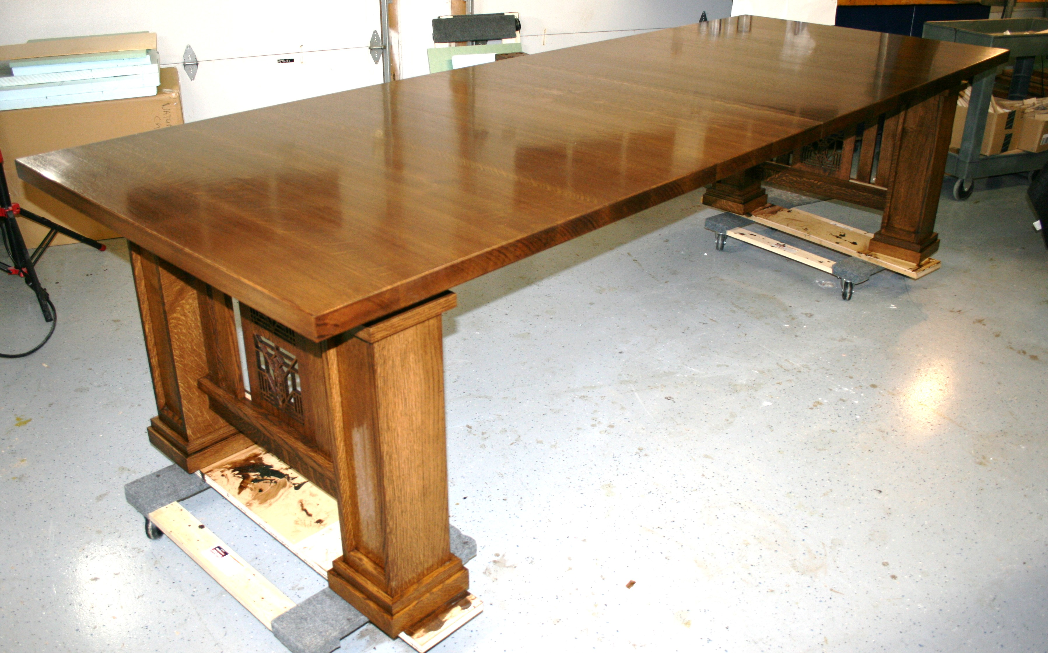 Frank Lloyd Wright Inspired, Solid Quartersawn White Oak Table. Ten Feet In  Length Without Leaves. Custom Finish. Delivered To Buffalo, NY. November  2016.