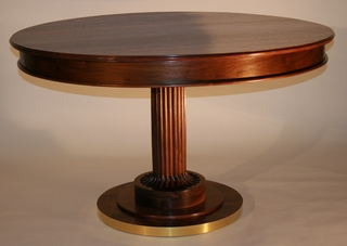 Custom walnut pedestal table