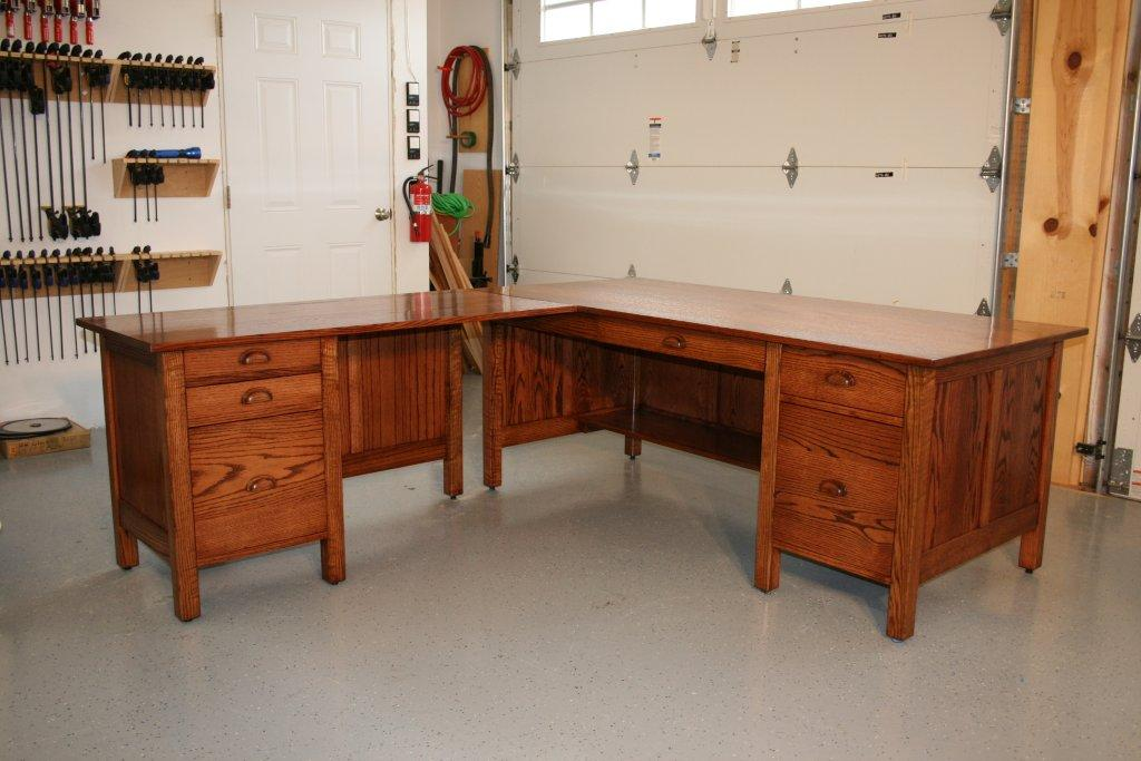 Large Desk In Red Oak With Book Matched Panels April 2017