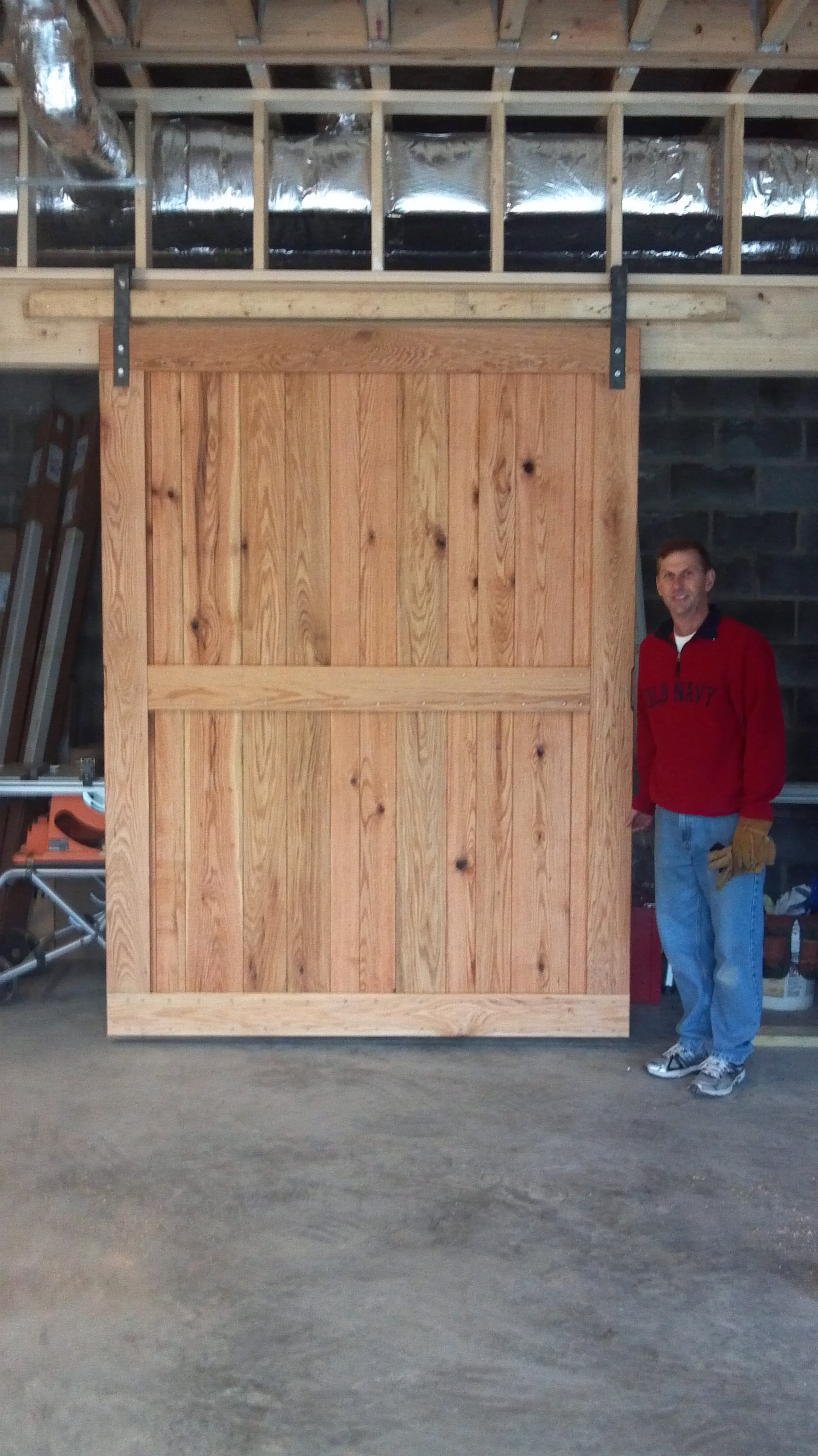 Ron With A Solid Red Oak Garage Door; One Of His Most Massive Projects To  Date! The Commission Was To Build Four Doors, Each 6 Feet By 8 Feet.